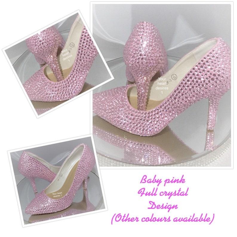 7208138ff09 Pink wedding shoes bridal bridesmaid prom crystal heels