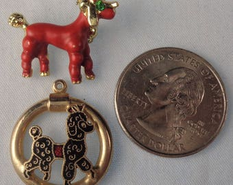 2 1950's Poodle Jewelry pieces.  One a pin, one a pendant.