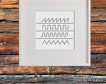 Sound Waves Minimal Modern Cross Stitch Pattern PDF Download