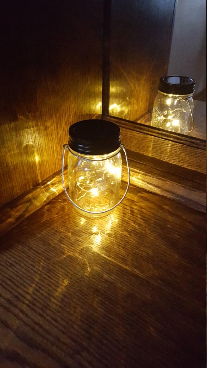 Mason Jar Solar Lid Light Firefly Twinkling Soft Yellow solar mason jar solar light Angel Lights fairy light mason jar light