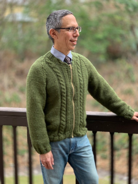 Mister Rogers Inspired Cardigan Zipper Mr Rogers Hand Knit Etsy
