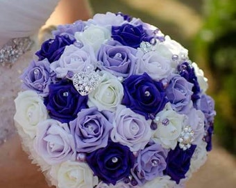 Brooch foam rose bouquet, available most colours.