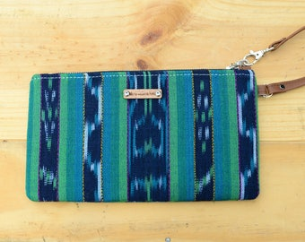 Wristlet in Fair Trade Guatemalan Hand Loomed Fabric of Indigo Blue, Green, Teal and White in Ikat Pattern