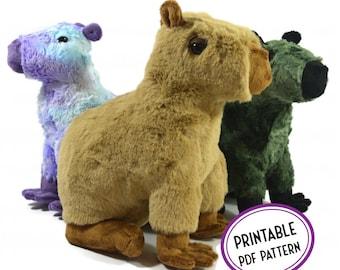 Capybara Plush Sewing Pattern - Ana the Capybara - Sitting Capybara Soft Toy PDF Sewing Pattern and Tutorial