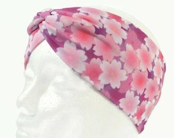 Cherry Blossom Headband Adult Size - Pink Sakura Headband Faux Knot - Soft Stretchy Adult Extra Wide Headband