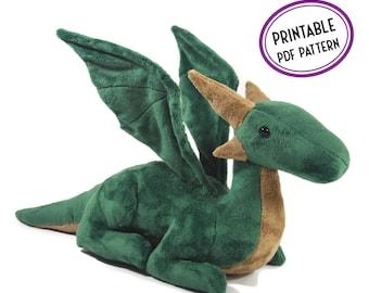 Dragon Plush Sewing Pattern - Topaz the Dragon - Elegant Sitting Dragon Soft Toy PDF Sewing Pattern and Tutorial