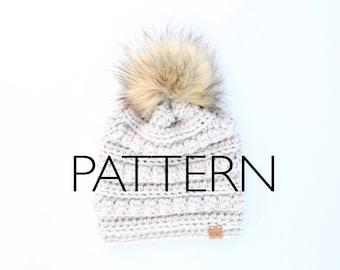 HOKC Bobble Toboggan PATTERN// Includes 5 sizes // Baby - Adult hat pattern, Crochet Hat Pattern.