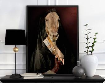 OLYMPE - portrait d'une jument en robe + éventail, portrait animalier en costume, idée cadeau, personnalisable avec la photo de votre animal