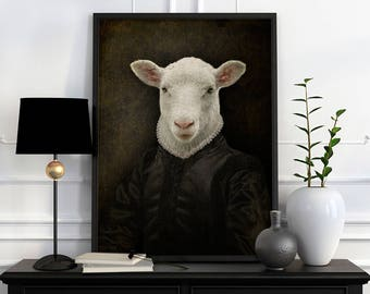 Sheep in Flemish look portrait in LORD CHESTERFIELD costume