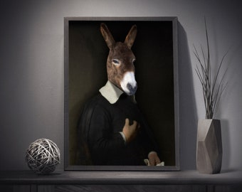 Little donkey dressed in Dutch style - animal portrait in costume