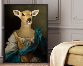 Animal portrait in costume: MADAME DE - animal portrait in costume - portrait of a dressed doe - gift idea