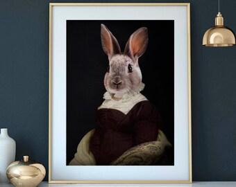 Rabbit portrait in victorian dress MADAME DE SOLIGNAC