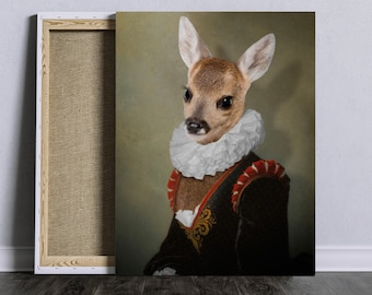 Young doe in velvet dress and lace collar BAMBI