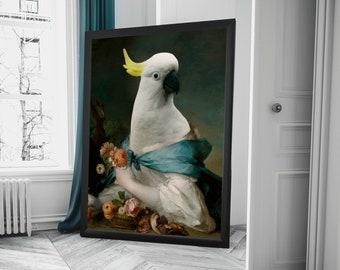Parrot with rose and peony animal portrait dressed