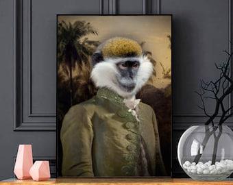 CAMPBELL - portrait d'un singe en habit, portrait animalier en costume, idée cadeau, personnalisable avec la photo de votre animal