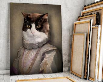 BRUGGES - portrait d'un chat en habit renaissance, portrait animalier en costume, idée cadeau, personnalisable avec la photo de votre animal