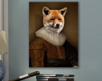 Fox in a magnificent Flemish renaissance dress