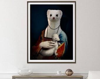 Ermine portrait after Leonardo da Vinci