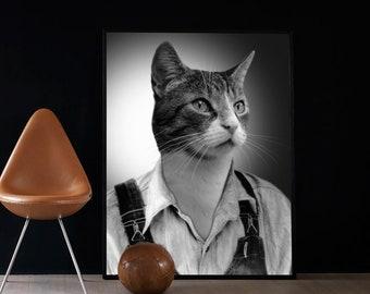Portrait animal en costume habillé, impression d'art de chat noir et blanc (toile, papier photo, poster, tirage baryté), cadeau original
