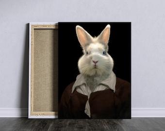 Romantic portrait with dressed white rabbit