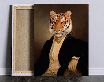 Tiger in aristocratic clothe Dandy