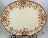 Antique English Transfer Platter in Brown And Cream