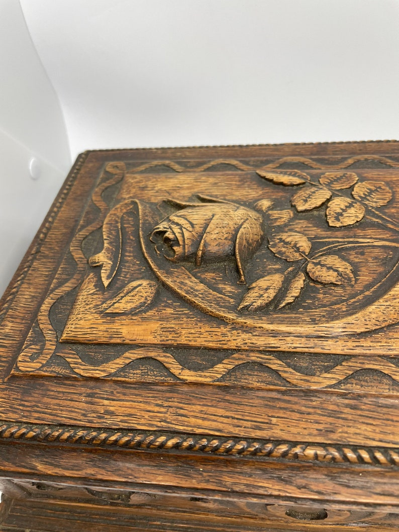 Black Forest Box With A Hand Carved Rose