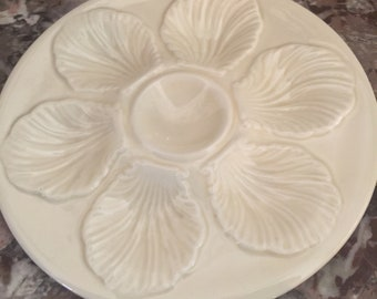 Oyster Plate In Creamy White By Faience D'art