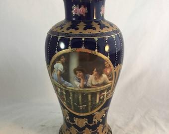 Antique Royal Limoge Vase In Cobalt Blue