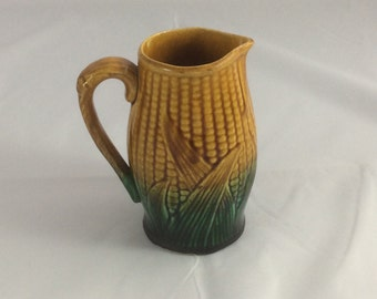 English Majolica Corn Pitcher