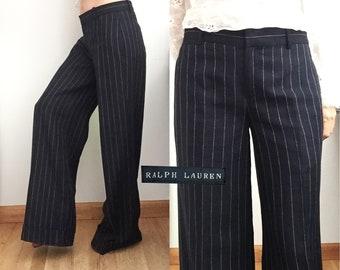 c49d02ecf RALPH LAUREN Navy Pinstriped Trousers - Wide Legged Wool Linen Pants -  Cuffed   Tailored