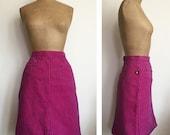 80s SASSON jeans MINI skirt - vintage engineer striped skirt - dark pink and indigo LOGO 26 Inch Waist
