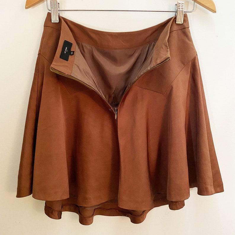ET VOUS Paris 1920s Style Bias Cut Skirt Satin Flippy Skirt Cocoa Brown XS S