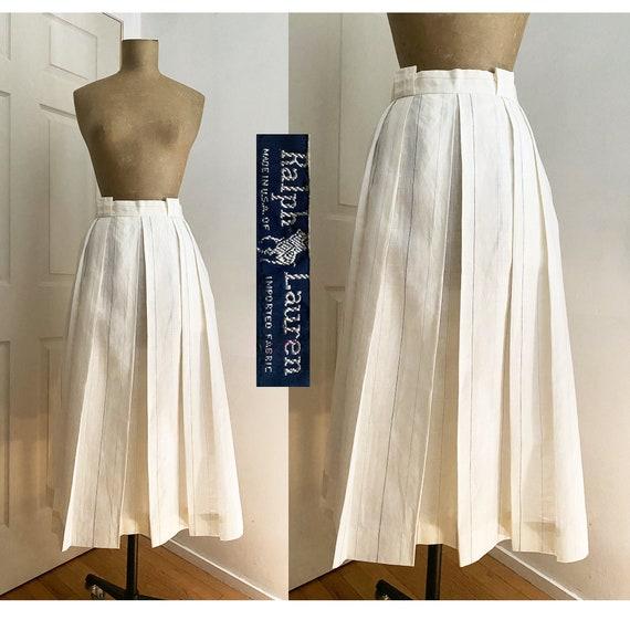 1980s RALPH LAUREN Linen Striped Riding Skirt - Pl
