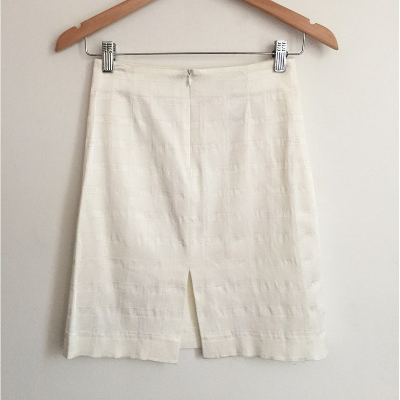 Made in Italy 90s VERSACE CLASSIC Stretch Sateen Logo Skirt Pearl White Wiggle Mini