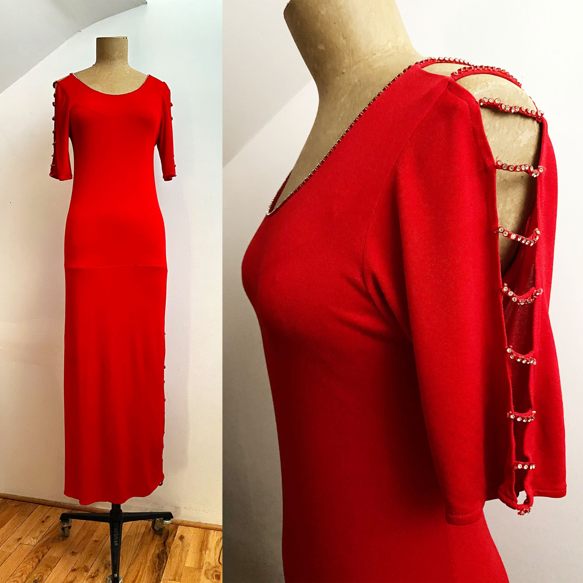 80s Dresses | Casual to Party Dresses 80S Janines Of London Red Rhinestone Matte Jersey Column Dress - Bare Shoulders High Thigh Long $42.00 AT vintagedancer.com