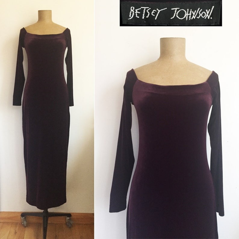 64fe2db752ab 90s BETSEY JOHNSON Merlot Stretch Velvet Tube Dress Burgundy | Etsy