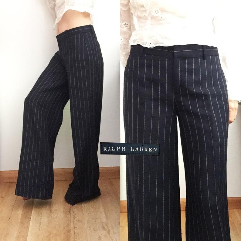 02abb9b3 RALPH LAUREN Navy Pinstriped Trousers - Wide Legged Wool Linen Pants -  Cuffed & Tailored
