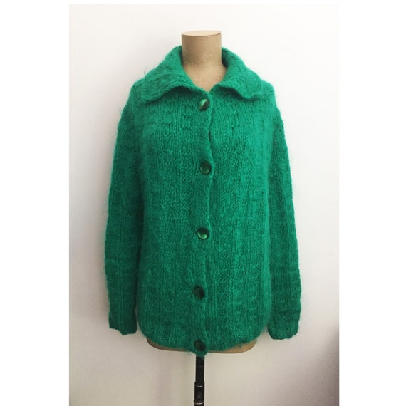 50s 60s Mohair Sweater - Hand Knit Emerald Green C