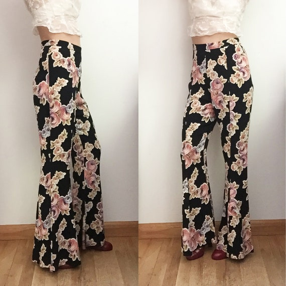 90s BETSEY JOHNSON Floral Bellbottoms - Iconic Ros