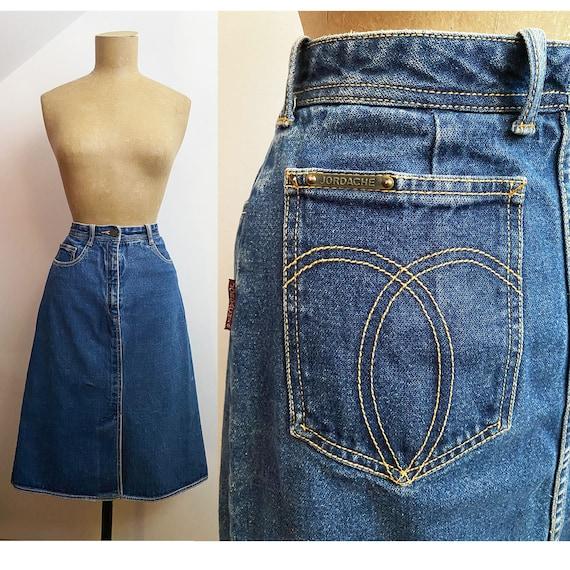 80s JORDACHE Denim A Line Skirt - 5 Pocket Jean St