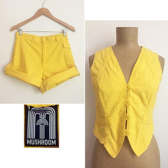 70s 80s MUSHROOM Yellow Short Suit - Tailored Vest
