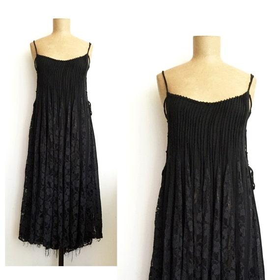 90s black LACE UP tent dress - vintage lace inset