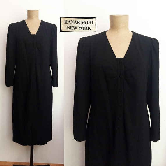 80s HANAE MORI New York Suit Dress - Black Strong