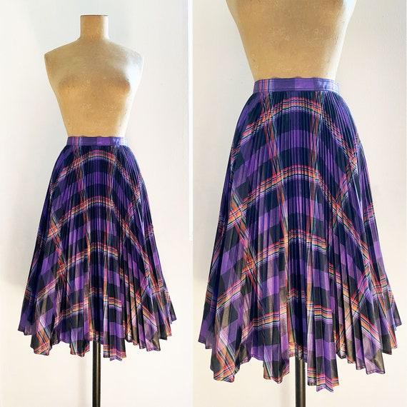 70s BILL ATKINSON Plaid Cotton Skirt - Accordion P