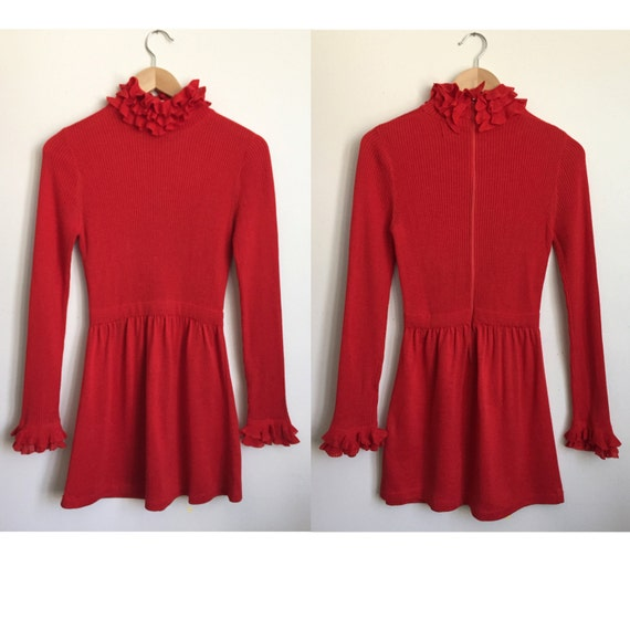 70s RONCELLI mini dress - Vintage high neck dress… - image 4