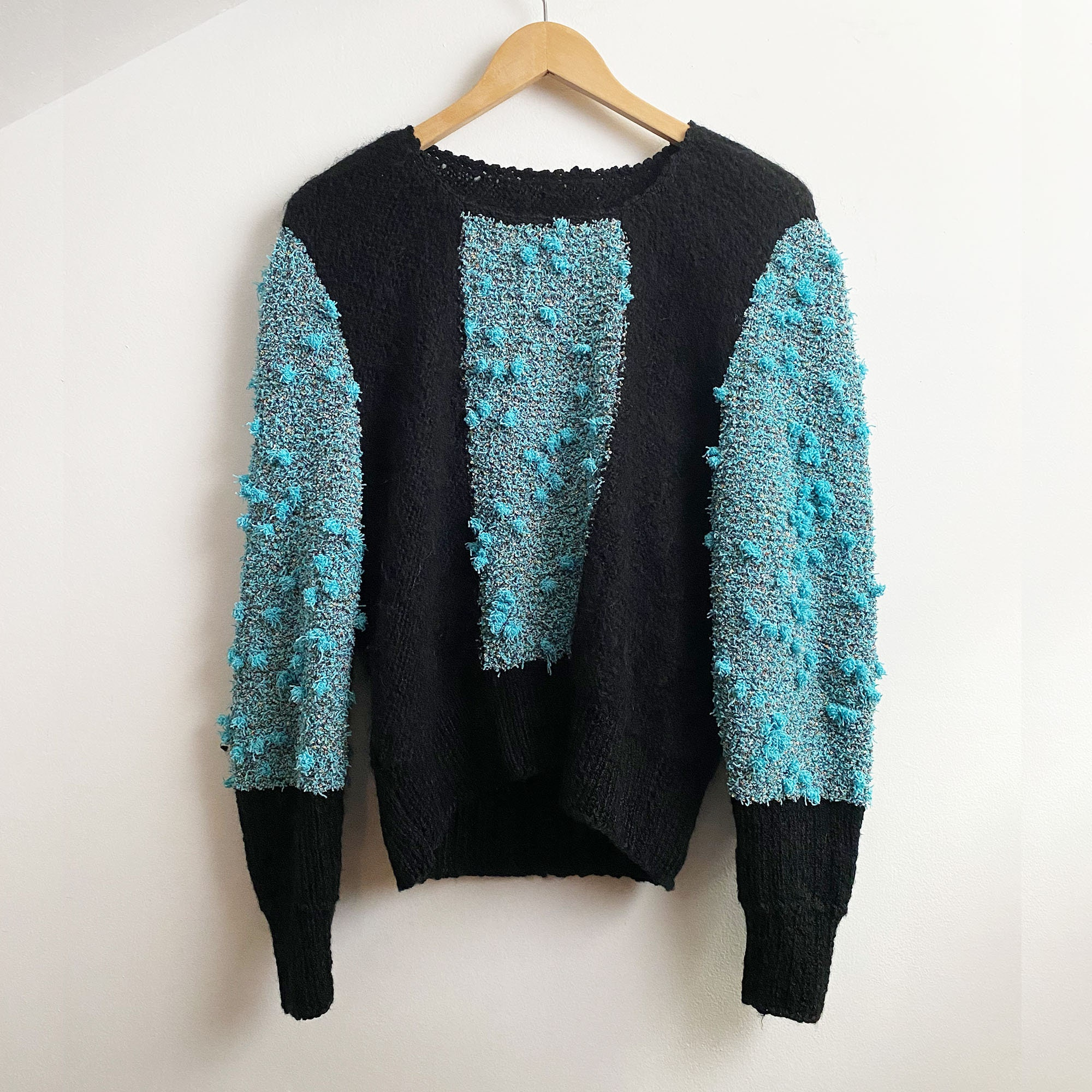 80s Sweatshirts, Sweaters, Vests | Women 1980S Hand Knit Wool Mohair Sweater - Nubby Black  Turquoise Bauble Jumper $125.00 AT vintagedancer.com