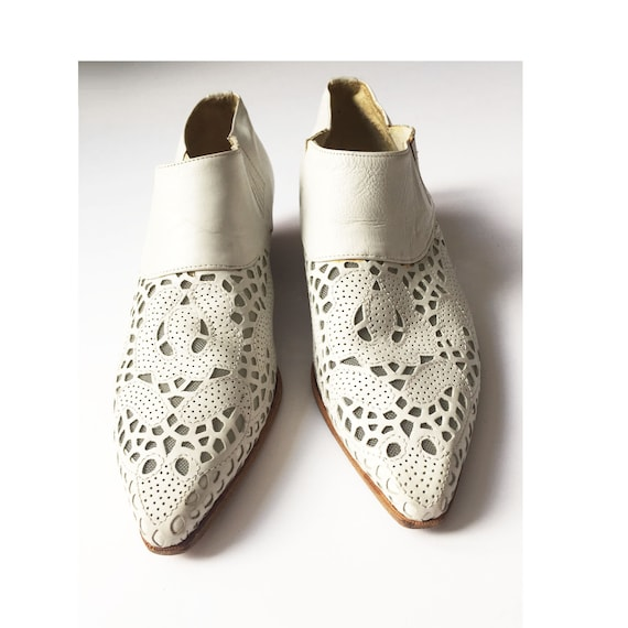 80s VIA SPIGA White Leather Lace Cowboy Boots - Fl