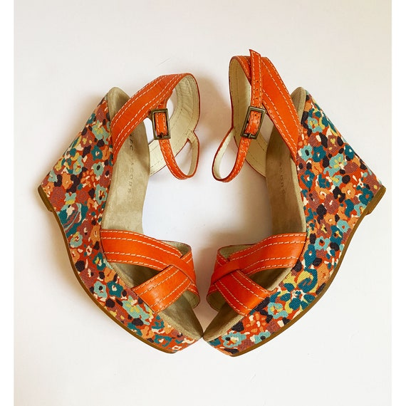 MARC JACOBS 70s Style Floral Platforms - Orange We