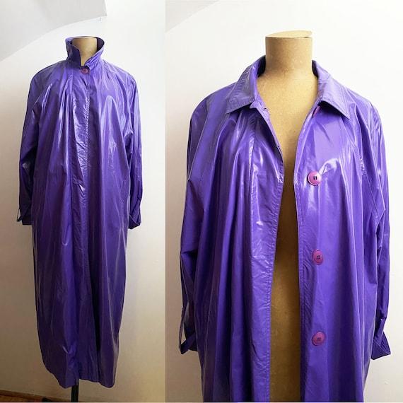 80s PERRY ELLIS Purple Vinyl Trench - PVC Raincoat